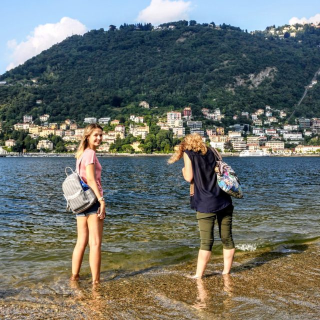 Katherine V. R. Sullivan with Anna Sytnik Rybchak e Naíde Müller Lake Como