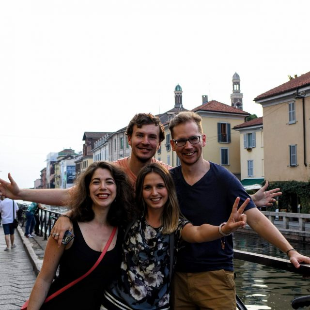 Katherine V. R. Sullivan with Mārtiņš Pričins, Anna Sytnik Rybchak e Gergő Hajzer - Milan canal Il Naviglio-2