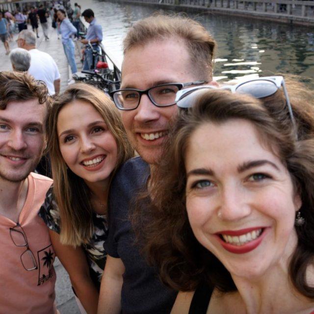 Katherine V. R. Sullivan with Mārtiņš Pričins, Anna Sytnik Rybchak e Gergő Hajzer - Milan canal Il Naviglio