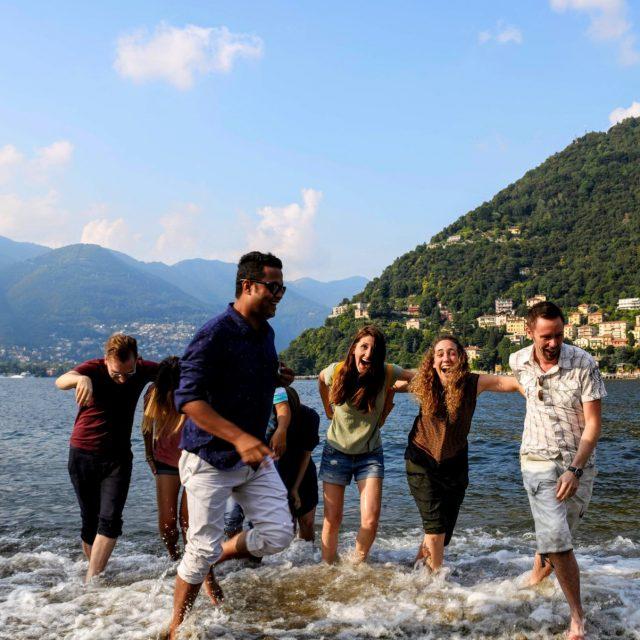 Katherine V. R. Sullivan with others on Lake Como